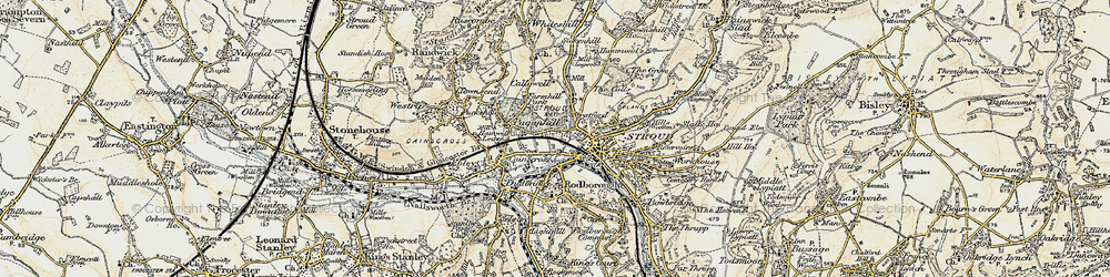 Old map of Stroud in 1898-1900