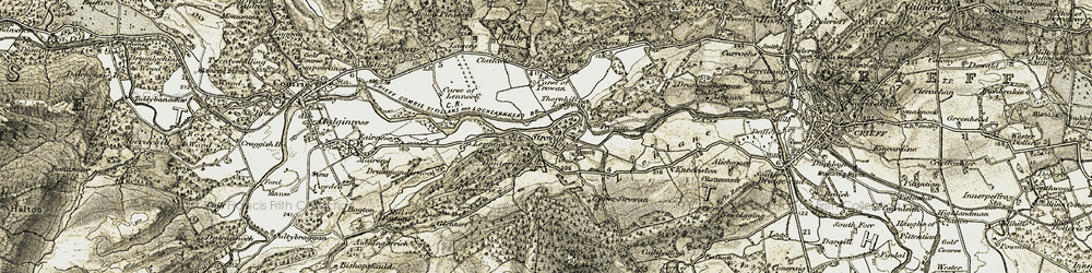 Old map of Strowan in 1906-1907