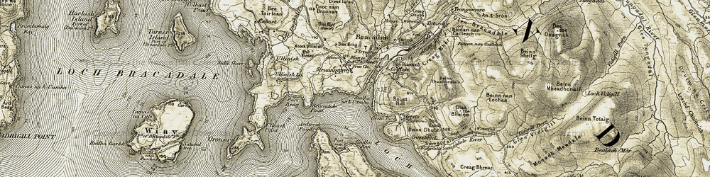 Old map of Ardtreck Point in 1908-1909