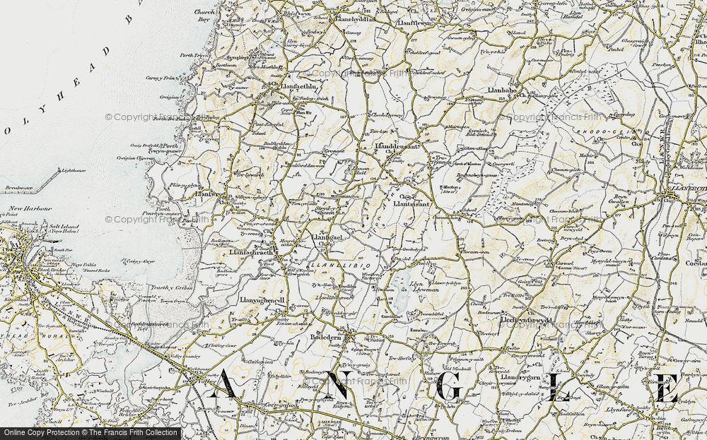 Old Map of Historic Map covering Afon Alaw in 1903-1910