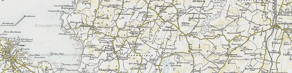 Old map of Afon Alaw in 1903-1910