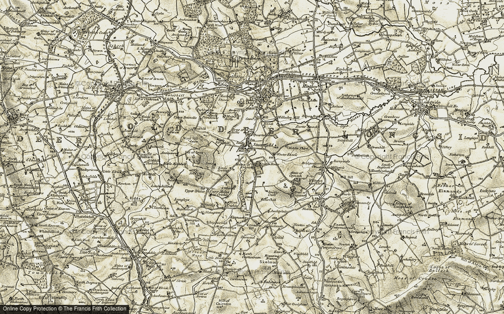 Old Map of Historic Map covering Wind Hill in 1909-1910
