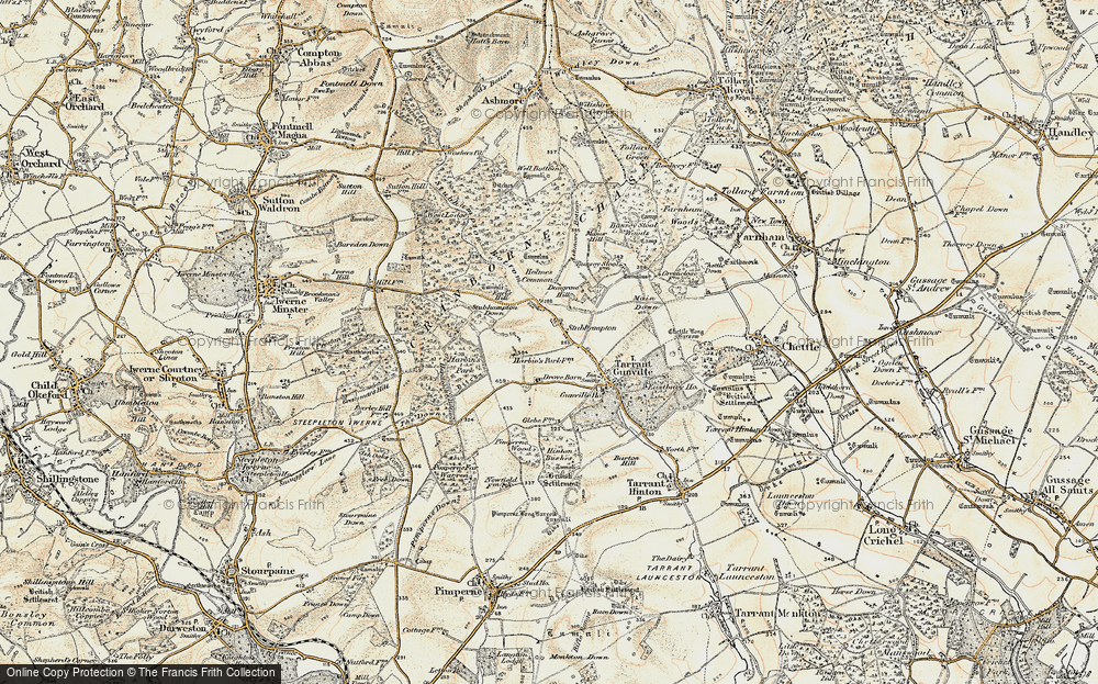 Old Map of Historic Map covering Ashmore Bottom in 1897-1909