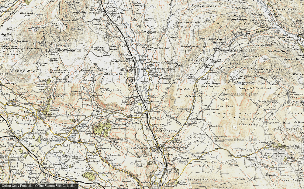 Old Map of Historic Map covering Larch Tree Hole in 1903-1904