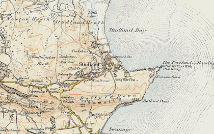 Old map of Ballard Down in 1899-1909