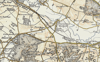 Old map of Sturminster Marshall in 1897-1909