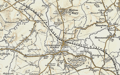 Old map of Sturminster Newton in 1897-1909