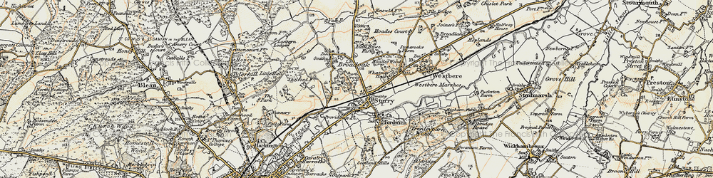 Old map of Sturry in 1898-1899