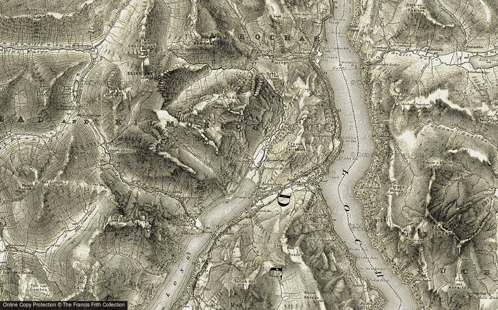 Old Map of Historic Map covering Allt Sugach in 1905-1907