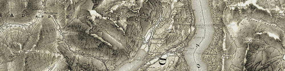 Old map of Allt Sugach in 1905-1907