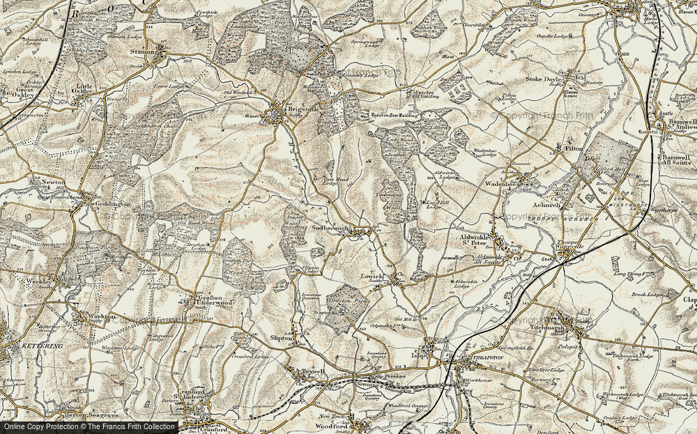 Old Map of Historic Map covering Lilford Wood in 1901-1902
