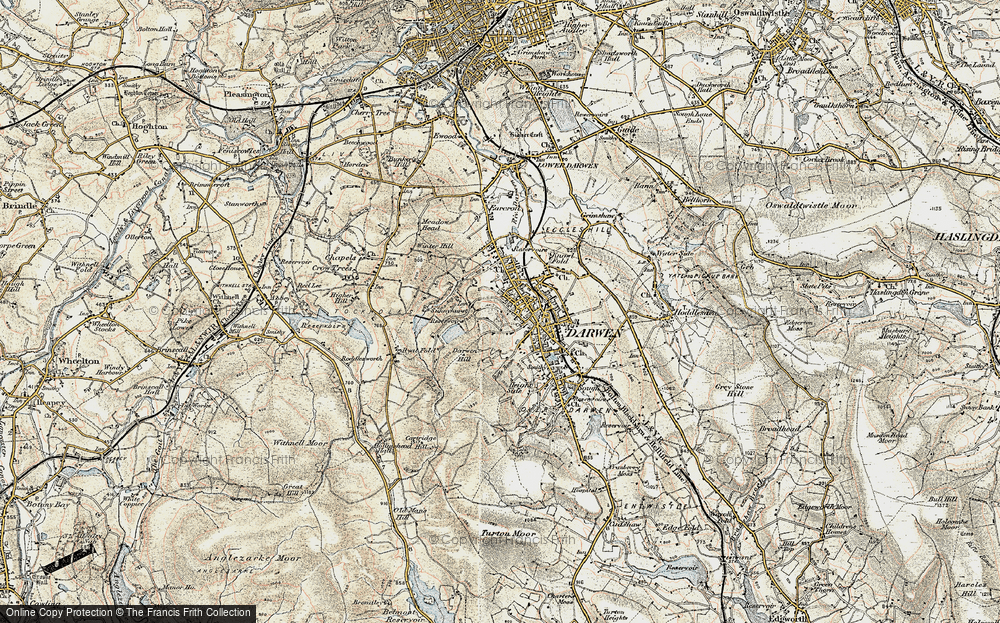 Old Map of Historic Map covering Blackburn with Darwen in 1903
