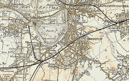 Old map of Surbiton in 1897-1909