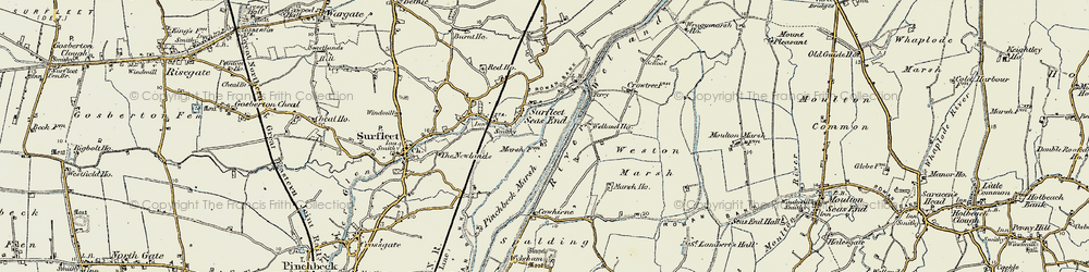 Old map of Weston Marsh in 1902-1903