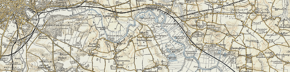 Old map of Surlingham in 1901-1902