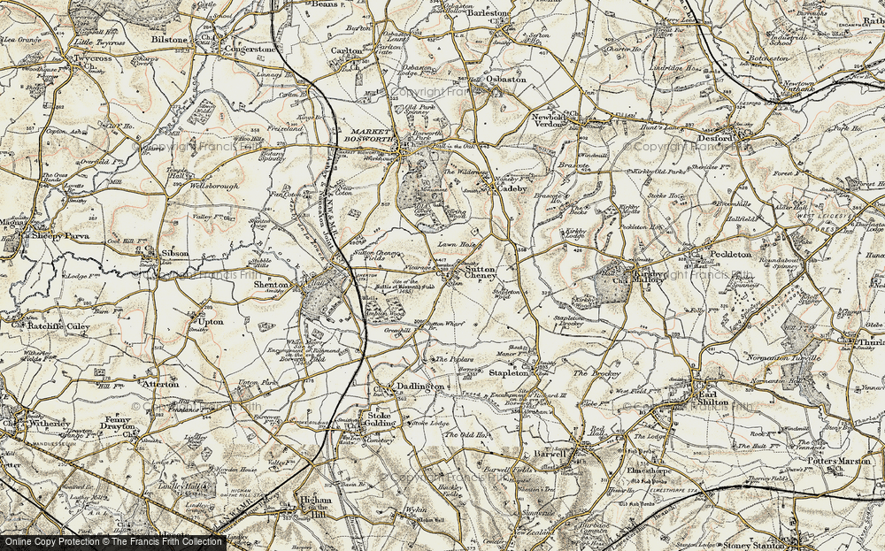 Old Map of Historic Map covering Ambion Hill in 1901-1903