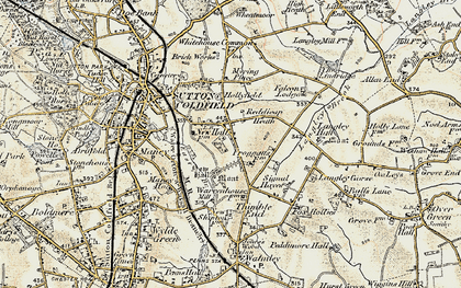 Old map of Sutton Coldfield in 1901-1902