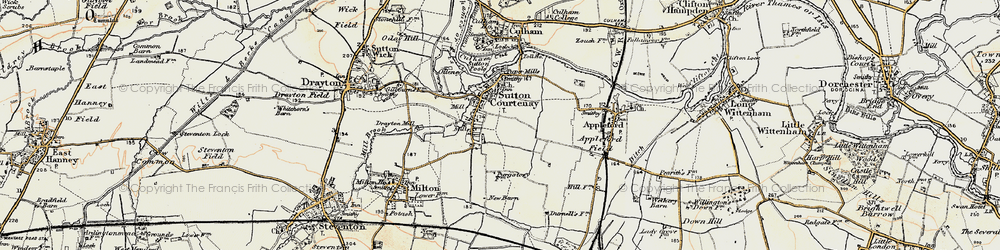 Old map of Sutton Courtenay in 1897-1898