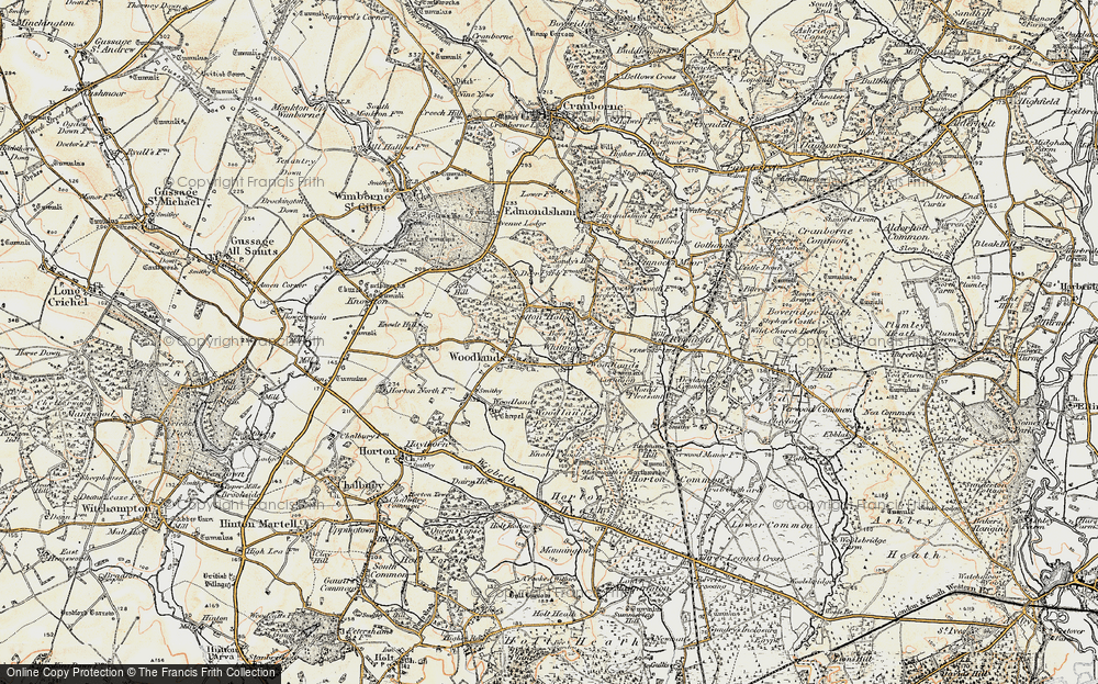 Old Map of Historic Map covering Woodlands Park in 1897-1909