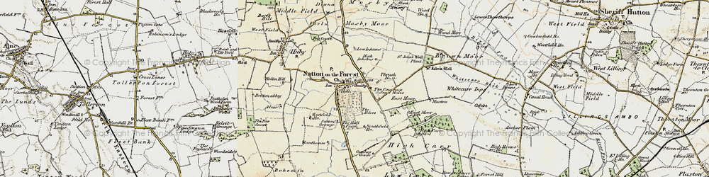 Old map of Sutton-on-the-Forest in 1903-1904