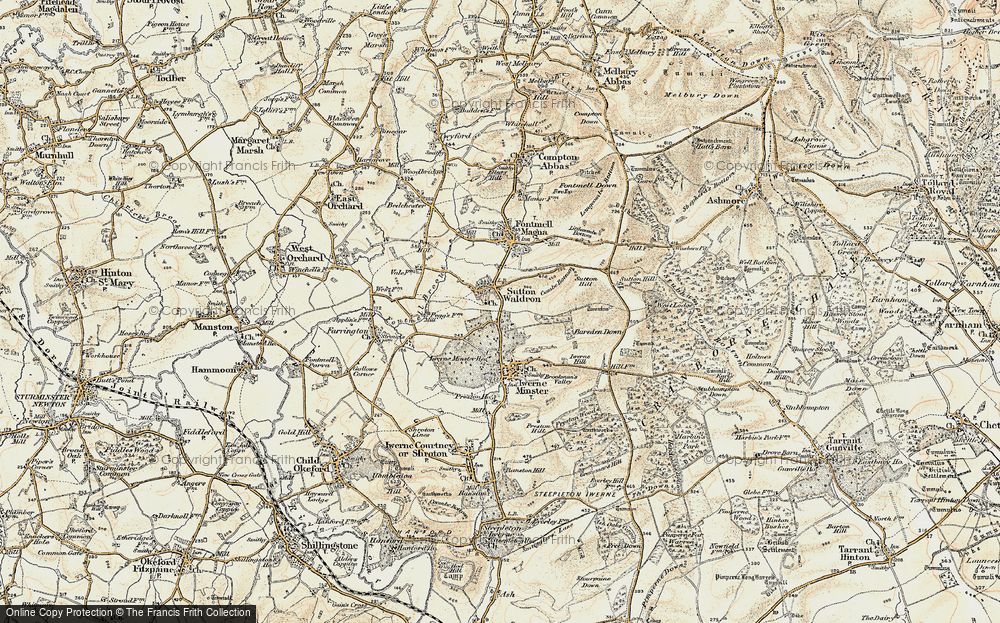 Old Map of Historic Map covering Bareden Down in 1897-1909