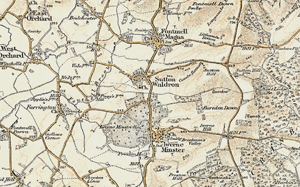 Old map of Bareden Down in 1897-1909