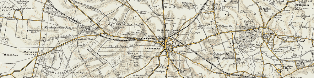 Old map of Swaffham in 1901-1902