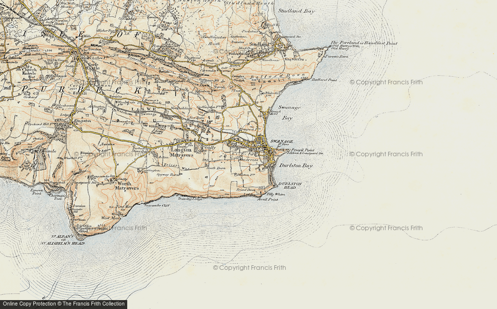 Old Map of Historic Map covering Tilly Whim Caves in 1899-1909