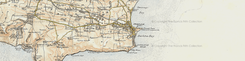 Old map of Tilly Whim Caves in 1899-1909