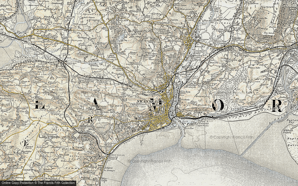 Old Map of Swansea, 1900-1901 in 1900-1901