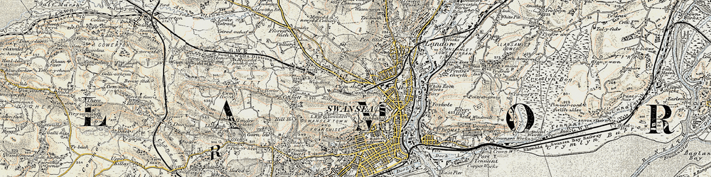 Old map of Swansea in 1900-1901