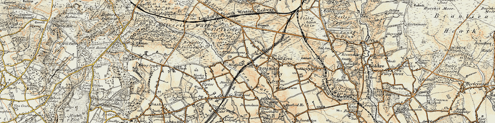 Old map of Sway in 1897-1909