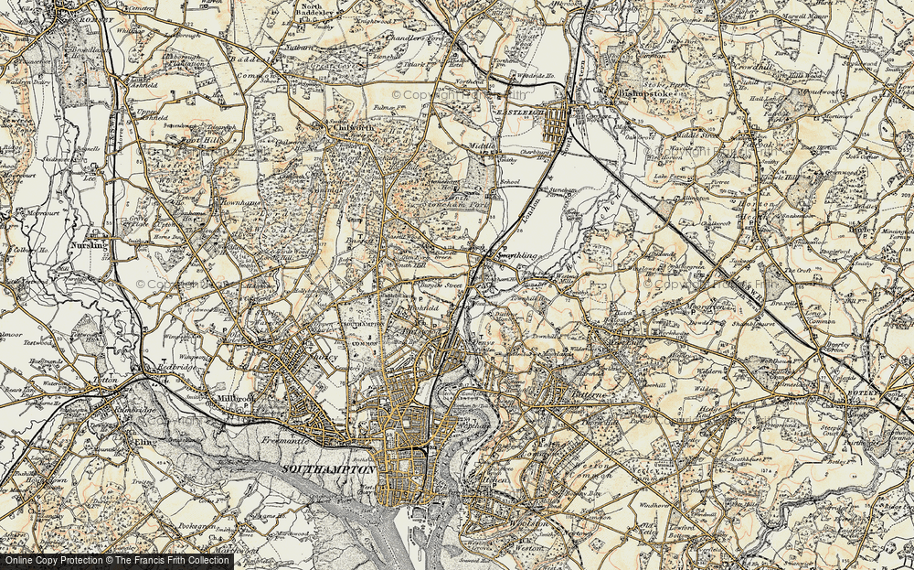 Old Map of Historic Map covering Woodmill in 1897-1909