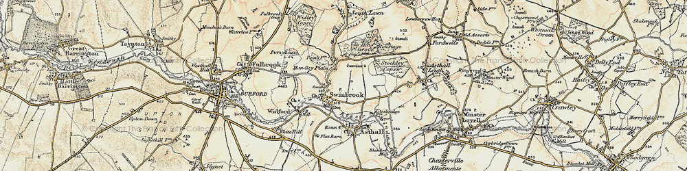 Old map of Widford Village in 1898-1899