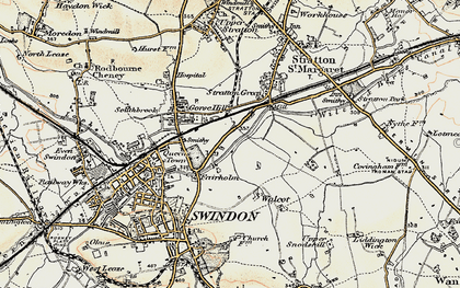 Old map of Swindon in 1897-1899
