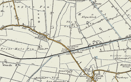 Old map of Algarkirk Fen in 1902-1903