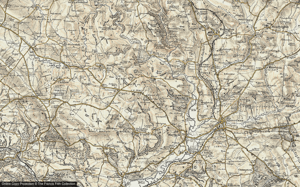 Old Map of Historic Map covering Caltonmoor Ho in 1902