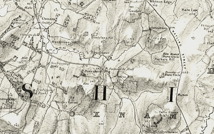 Old map of Whitton Edge in 1901-1904