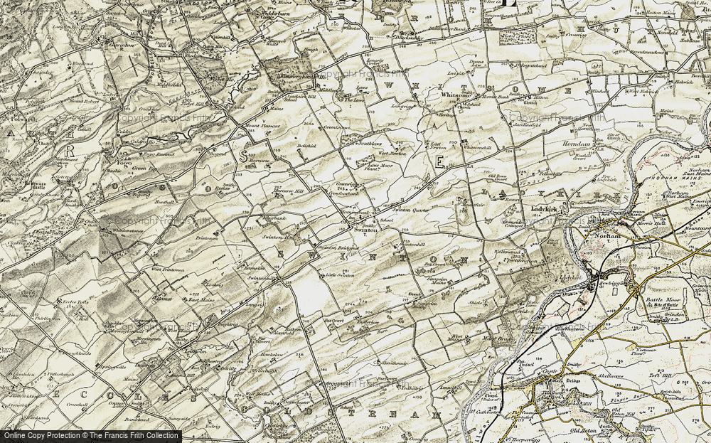 Old Map of Historic Map covering Laws Moor Plantn in 1901-1904