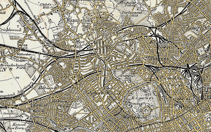Old map of Swiss Cottage in 1897-1909