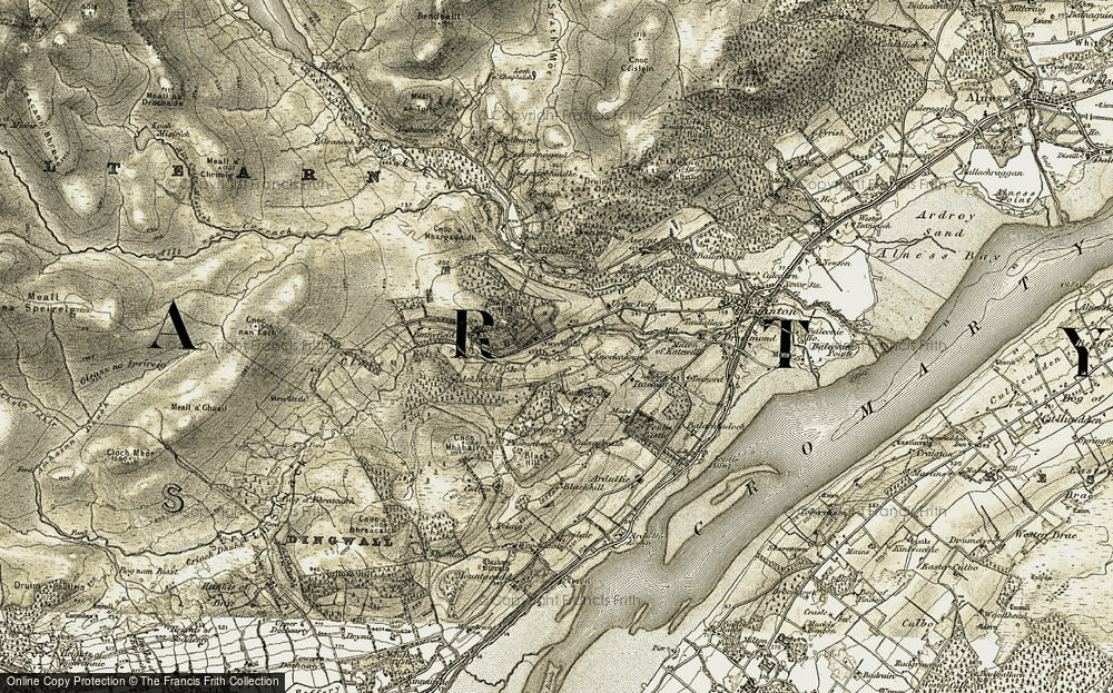 Old Map of Historic Map covering Balnarge in 1911-1912