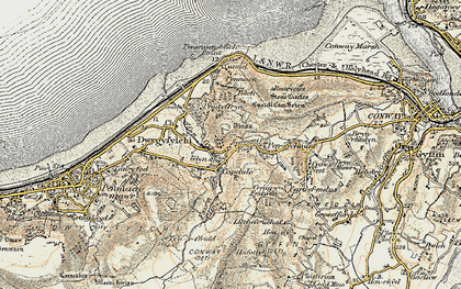 Old map of Sychnant Pass in 1902-1903