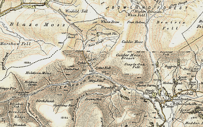 Old map of Trough of Bowland in 1903-1904