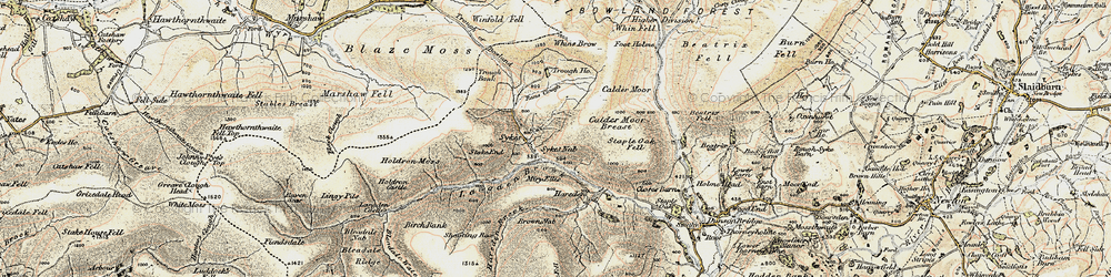 Old map of Winfold Fell in 1903-1904