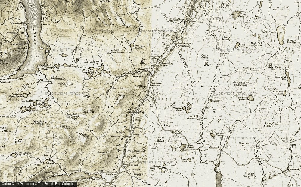 Old Map of Historic Map covering Langdale in 1910-1912