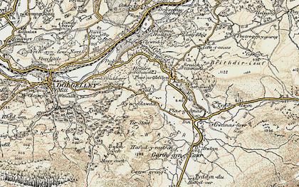 Old map of Afon Clywedog in 1902-1903