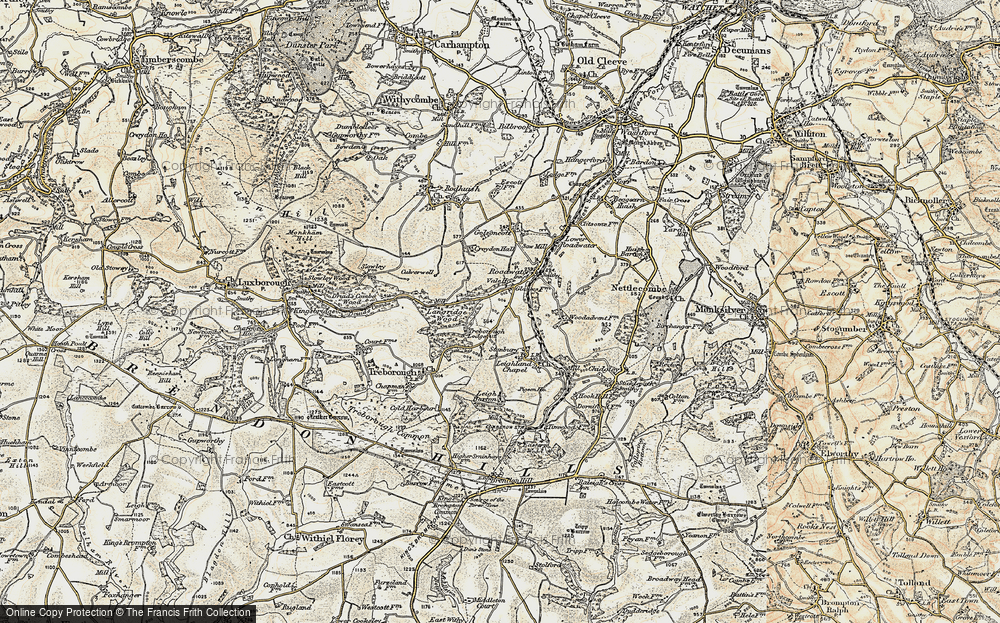 Old Map of Historic Map covering Langridge Wood in 1898-1900