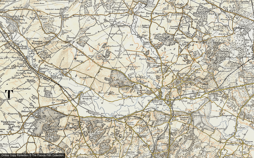 Old Map of Historic Map covering Badbury Rings in 1897-1909