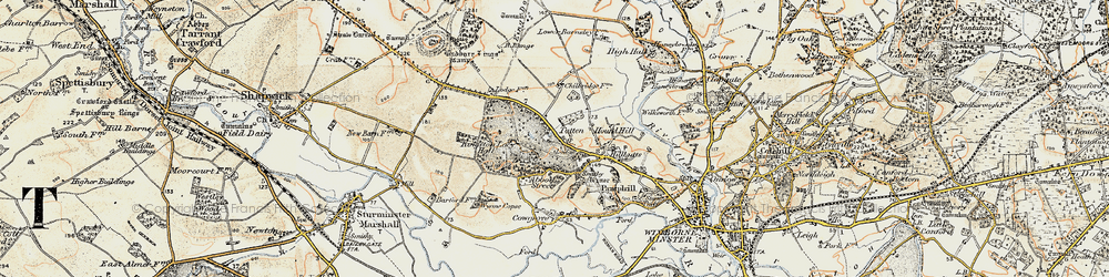 Old map of Wynne Copse in 1897-1909