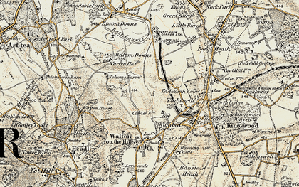 Old map of Tadworth in 1897-1909
